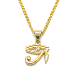 Horus cHain online shopping - Gold Eye Of Horus Pendant Men Women Jewelry Hip hop Style Stainless steel Gold Color Pendant Necklace Chain