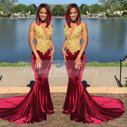 Deep Fitting Caps Canada - Gold and Burgundy Velvet Prom Dresses 2017 with Straps Lace Appliques Mermaid Flattered Fitted Black Girls Evening Dress
