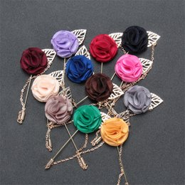 lapel brooch chain UK - BoYuTe 10Pcs 12 Colors Chain Fabric Flower Brooch Wholesale Fashion Men Suit Accessories Wedding Lapel Pin Christmas Jewelry