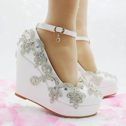 Wedge Wedding Women Shoes Canada - New Fashion Heels Wedges sandals Rhinestone sandals for pumps party Sexy white wedding shoes high heel women shoes