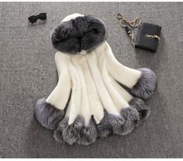 Faux Mink Jackets Canada - Luxury Women Faux Fur Hooded Coat Fashion Winter Ladies Imitation Mink Outerwear Jacket warm clothing white black