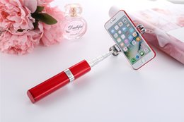 new lipstick designs UK - 2017 New arrival mini lipstick wired selfie stick for iPhone and android mobile phone folding selfie stick lipstick Perfume Design DHL fee