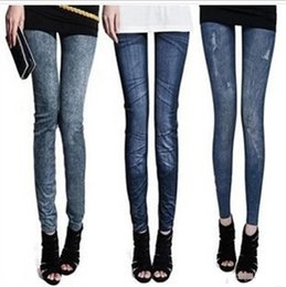 Jeans Denim Sexy Legging Pas Cher-30pc Pantalons Femmes Leggings Sexy Leggings Imprimés Femmes Gratinants Jeans Cravate Rasée Denim Spandex Graffiti Fitness Legging TR08