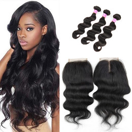dhgate virgin human hair Canada - 3 Bundles Body Wave with Closure Unprocessed Natural Color Virgin Human Hair Weaves Dhgate On Sale High Quality Can Be Permed Hair Closures