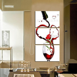 Bar Paintings Australia - Modern abstract fashion oil painting on canvas 3P bar red wine glasses vertical paintings