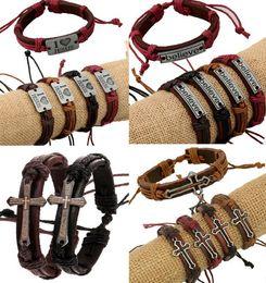 Leather Crosses Wholesale NZ - 4 Styles Cross Bible Believe Charm Braided Bracelet Urban Jewelry Handmade Black Genuine Leather Adjustable Wristband retro Jewelry