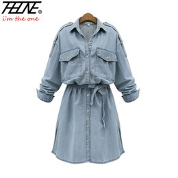 Robe De Soie Denim Pas Cher-Vente en gros - Je suis THEONE Brand Plus Size Denim Dress Women Tunic Belt Long Sleeve Button Up Fashion Casual Cotton Summer Jeans Dress Shirt