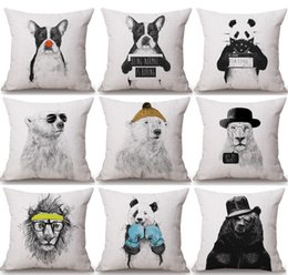 $enCountryForm.capitalKeyWord NZ - Hipster Animals Cushion Covers Hand Painting Bear Dog Lion Panda Leopard Cushion Cover Sofa Throws Decorative Linen Cotton Pillow Case