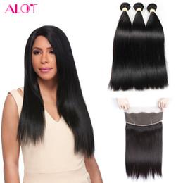 Pre Human Hair NZ - Brazilian Straight Bundles 3Pcs Pre Plucked 360 Frontal with Bundles Unprossced Brazilian Virgin Human Hair Bundles with 360 Lace Frontal