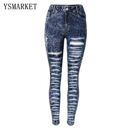 e7d96840caeb1b Plus Size Distressed Zerrissene Loch Jeans Frauen Hosen Schnee Navy Denim  Bleistift Jeans Mode Hohe Taille Skinny Casual Hosen E1122