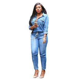 Maillots Minces Pas Cher-Wholesale- Fashion bodycon Jeans Femme Slim Casual Denim Jumpsuits Sexy Slim Lapel à manches longues ceinture jeans plus taille Denim Pencil Overalls