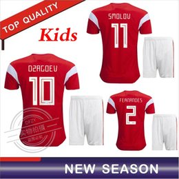 b86f346ec 2018 world cup Russia Soccer Jerseys 2018 kids kit Russian Home red Football  uniform Thai Quality Kokorin Dzyuba Smolov Soccer Shirts