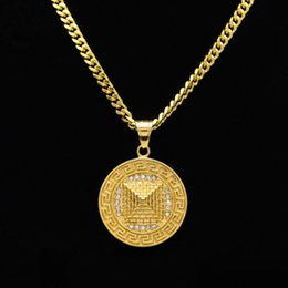 $enCountryForm.capitalKeyWord NZ - Mens Hip Hop Cuban Chain Gemstone Pyramid Pendant Necklace Stainless Steel Round Dog Tag Gold Plated Necklaces Pendants Fashion Men Jewelry