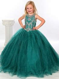 Robe Courte Petite Fille Pas Cher-Gorgeous Flower Gageant Girl's Gowns Sexy Beading Organza Ruffled Robe de bal Crystal Ruched Little Girl Robes de fille à fleurs 2017