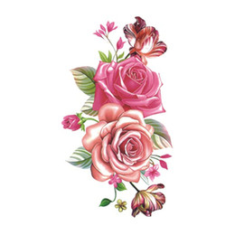 Chinese  Flower Rose Waterproof Temporary Tattoo Sticker for Women Body Art Fake Tattoo 10.5X6cm New Design Tatoo P-061 manufacturers