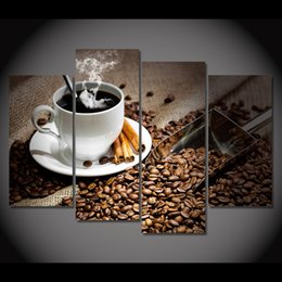 Oil Paintings Landscapes Still Lifes Canada - 4 Pcs Set Framed HD Printed Coffee Beans Hot Drink Picture Wall Art Canvas Print Poster Still Life Modern Oil Painting