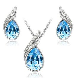 $enCountryForm.capitalKeyWord Canada - Wholesale Price 18K White Gold Plated Crystal Necklace Earrings Jewelry Set made With Swarovski Elements Health Jewelry for Women