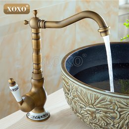 wholesale xoxo sink bathroom faucet basin mixer tap antique brass ceramics deck mounted retro porcelain handle faucets 50041bt1 cheap retro bathroom
