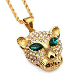 gold pendants leopard 2019 - Titanium Steel Leopard Head Hip Hop Necklace Jewelry Pendant Necklace cheap gold pendants leopard