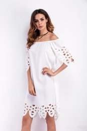 Fille Chaude Coupe La Robe Pas Cher-Hot Selling women summer Vêtements robes personnalité Design de l'épaule nue Fashion girl sexy Robes coupe-ventures taille S M L XL