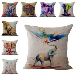 elephant textiles NZ - Colorful Animal Elephant Throw Pillow Cases Cushion Cover Pillowcase Linen Cotton Square Pillow Case Pillowslip Textiles 240457