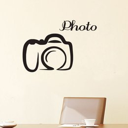 bedroom wall sticker photos NZ - Camera Wall Decals Vinyl Removable Simple Photo Studio Wall Decorative Stickers Adhesive Wall Sticker