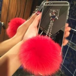 $enCountryForm.capitalKeyWord UK - 2017 Silver Metal Rope Mirror Tassel case phone fake fur ball For Samsung J1 2016 Samsung G530 Back Cover Case