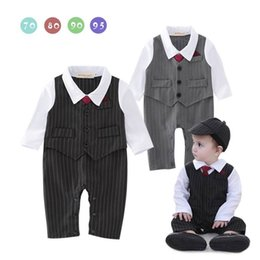 Barato Laço Do Bebê Um-Varejo Spring Autumn Baby Boys Rompers Gentleman Stripe Tie Long Sleeve One Piece Jumpsuits Overalls Toddler Clothes 13444