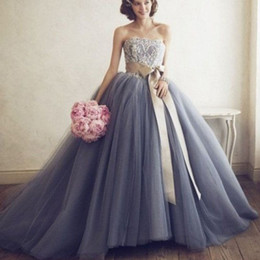 Barato Vestido De Lavanda Sem Alças-2017 Stunning Custom Made Color Wedding Dresses Lavender Blue Silver Wedding Dress Puffy Tulle Lace Appliques Strapless vestido sem mangas