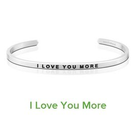 """$enCountryForm.capitalKeyWord Canada - 10 PCS Hot Sale Love Bangle Fashion Women Cuff Bangle Letter """"I LOVE YOU MORE """" Stamped Stainless Steel Engraved Bangle"""