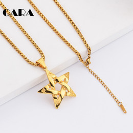 $enCountryForm.capitalKeyWord NZ - CARA New Arrival Chici punk tape star necklace charm well polished stainless steel necklace pendant for men hip hop jewelry necklace CAGF200