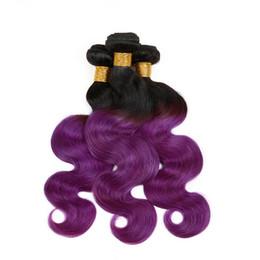 $enCountryForm.capitalKeyWord UK - Grade 9A Virgin Brazilian #1B Purple Ombre Hair Extensions Two Tone 3Bundles Body Wave Dark Roots Purple Ombre Hair Weaves DHL Free