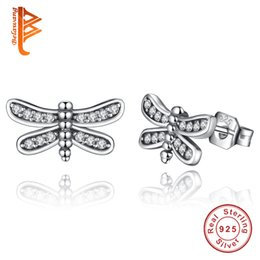 Discount sterling silver dragonfly earrings - BELAWANG Presents 925 Sterling Silver Petite Dragonfly Stud Earrings Clear CZ Compatible with Jewelry Special Store