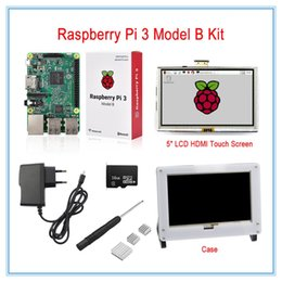 card lcd screen Canada - Freeshipping Raspberry Pi 3 Model B Board Kit with 5inch LCD HDMI Touch Screen+16GB Micro SD Card +5V2.5A Power Supply+ Heatsinks+Case