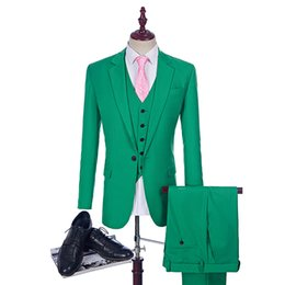 custom make clothes Canada - Green Wedding Tuxedo Custom Made Man Suits As Groom Suit 2017 Green Wedding Tuxedos 3 Piece Suit Man Clothes jacket pant vest best man sets