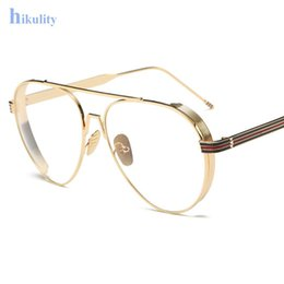 spectacles gold frame 2019 - Wholesale- Gold Clear Glasses Frame Myopia Frame Glasses Women Men Spectacle Frame Clear Lens Optical Aviation Glasses C