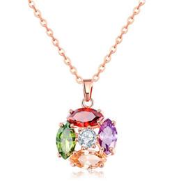 Collana gemmata d'ingrandimento libera di trasporto pietre di cristallo di Swarovski Collana d'oro rosa d'ardore e brillante per le donne 022-NE0118
