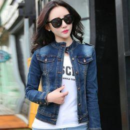 Stand Collar Denim Jacket Canada - wanhao 2016 Women Jacket Fashion Casual Denim Jacket Long Sleeve Clothing Slim Design Cotton Breathable Style Free Shipping