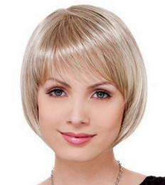 Short Hair Costume Wigs Canada - Short Finger Synthetic Wig Cosplay None Lace Wig Costume Wig Bob Golden Heat Resistant Hair Short Finger Straight Hair