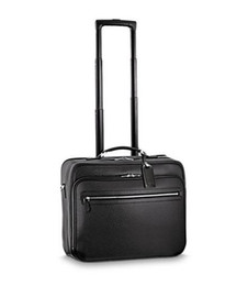 Chinese  Top Grade Black Taiiga Leather Rolling Luggage Suitcase PILOT CASE M23205 Free Shipping by EMS manufacturers