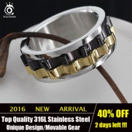Wholesale ORSA JEWELS Unique Design Men Ring Moveable Gear L Stainless Steel Charming Ring for Men OTR15