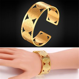 Copper Plated Steel Bangle Canada - U7 New Cross Jewelry Saint Benedict Medal Bangle Stainless Steel Gold Plated Perfect Accessories Gift Round Cuff Bracelets for Women GH2401