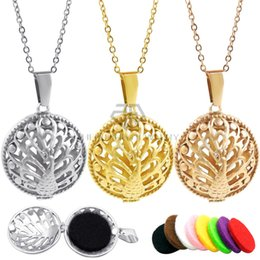 Hollow Perfume Lockets Australia - Hollow Out Peacock Desgin Necklace Aromatherapy Perfume Women Essential Oil Diffuser Locket Pendant Necklaces With Ball Chain