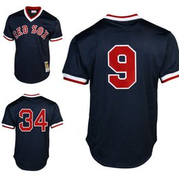 Mitchell Ness Ted Williams Boston Red Sox baseball jerseys 34 David Ortiz  1990 Cooperstown Collection Throwback ... 0b2d83e5de6
