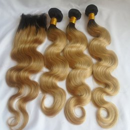 Dark blonDe hair Dye online shopping - Ombre Human Hair Bundles With Lace Closure T1b Peruvian Body Wave Virgin Hair Weaves Closure Two Tone Dark Root Honey Blonde