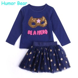 Jupe Long Longue Sequin Pas Cher-Vente en gros - Humour Bear Baby Girl Set de vêtements New Sequins Letter T-shirt à manches longues + Stars Skirt 2PCS Girl Clothing Sets Vêtements pour enfants