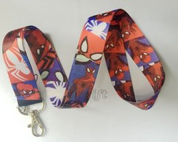neck chains men NZ - New 10pcs cartoon spider-man Phone key chain Neck Strap Keys Camera ID Card Lanyard Free Shipping PO092