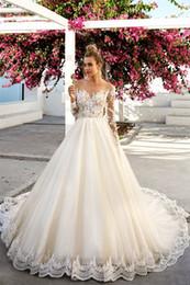 $enCountryForm.capitalKeyWord Canada - A-line Wedding Dresses 2019 vestidos de novia Tulle Long Sleeve Appliques Lace Skin Color Transparent Bridal Gowns