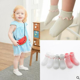Volant Bébé Bon Marché Pas Cher-Non Slip Newborn Baby Ruffle Chaussettes Korea Sock Summer Infant Toddler Boy Girl Thin Cotton Antislip Chaussette Chaussettes à bas prix