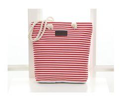 China 50pcs 2017 Beach Bags Women Stripes Canvas Bags Lady 4colors Large Capactiy tote handbag suppliers